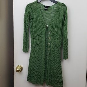 BCBG MaxAzria green crochet button front sweater
